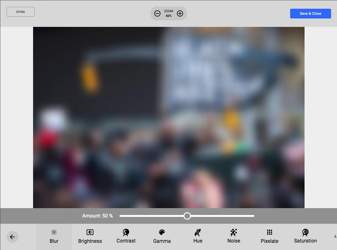 Joomlatools Connect photo editor - blur adjustment