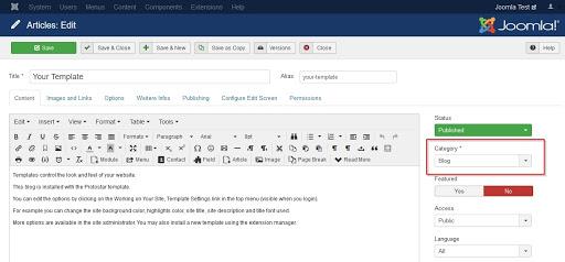 Screenshot Article choose Category