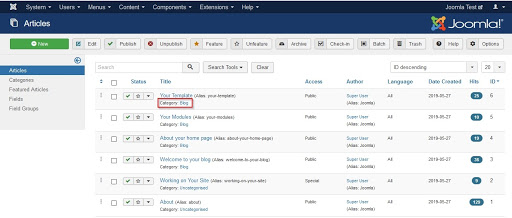 Screenshot Articles List Category Highlighted