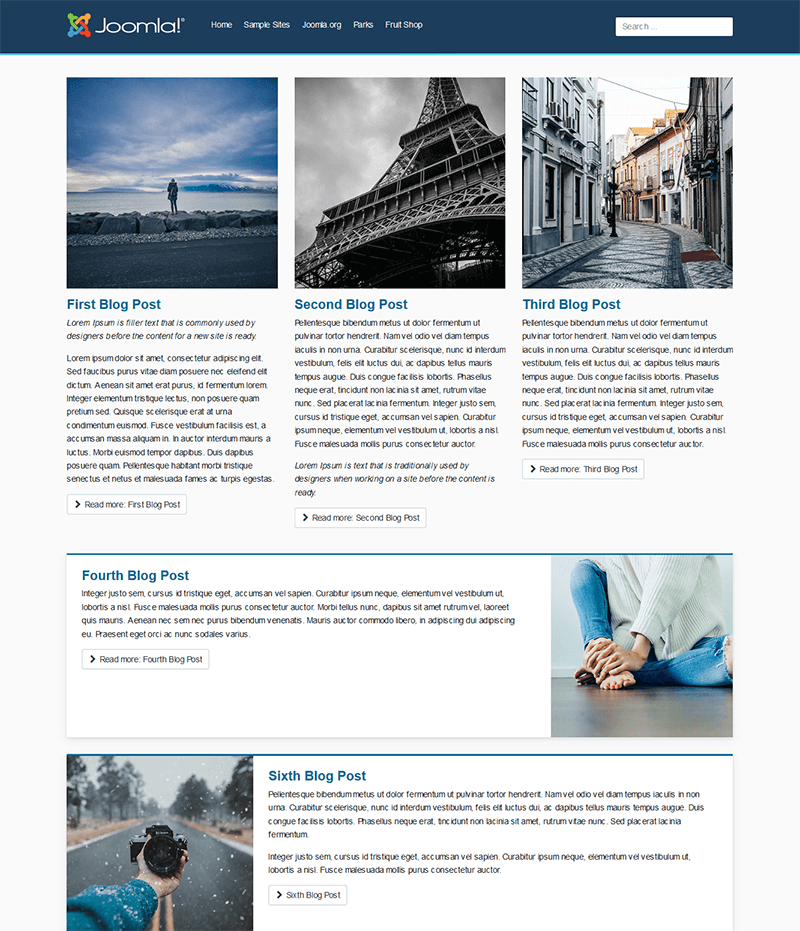 Example of a mixed layout using the new CSS Grid in Cassiopeia