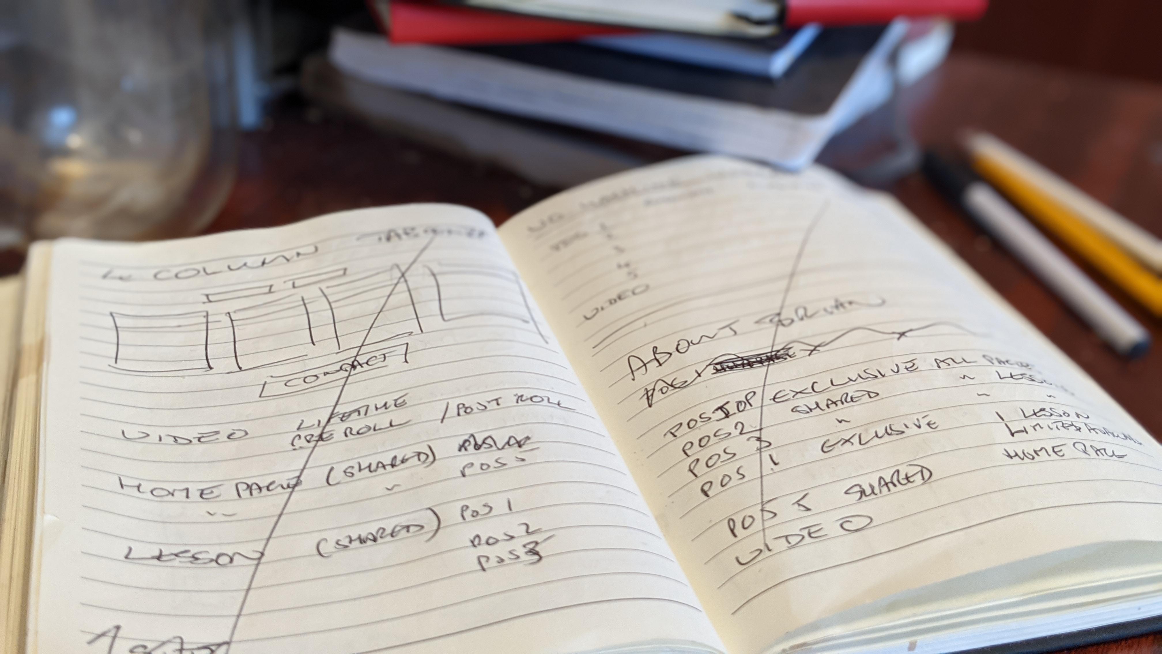 Moleskin notebook containing pencil sketches