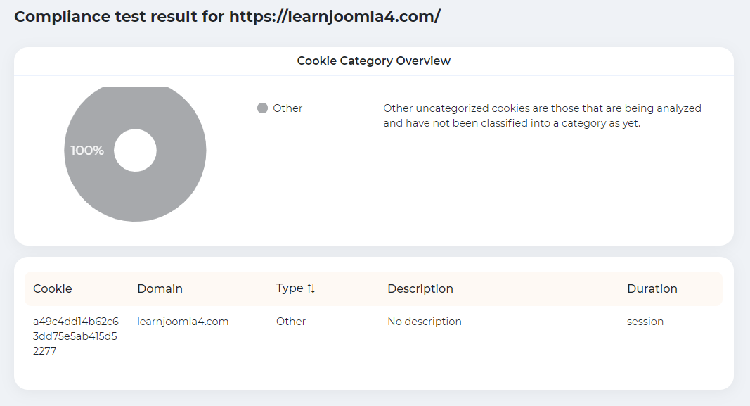 Compliance report showing the use of just one cookie on the www.learnjoomla4.com website