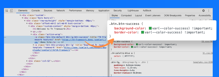 t4 framework color css variables