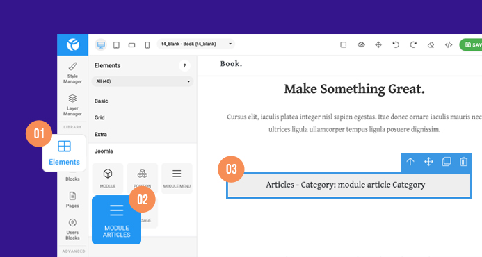 joomla page builder articles category module