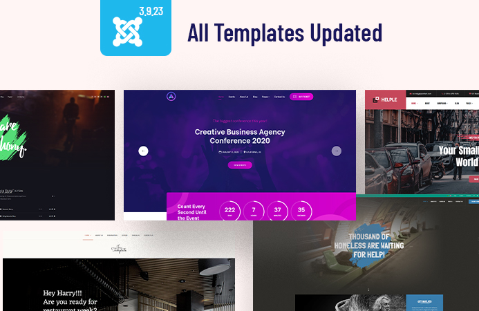67 Joomla templates updated for Joomla 3.9.23