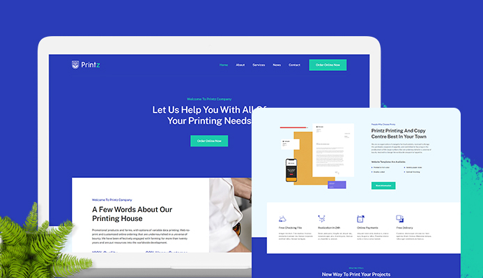 joomla page builder template for print service