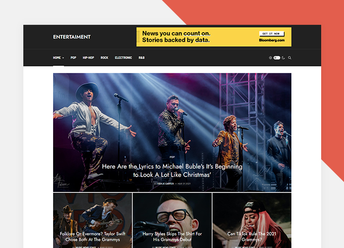 entertaiment magazine template home page layouts