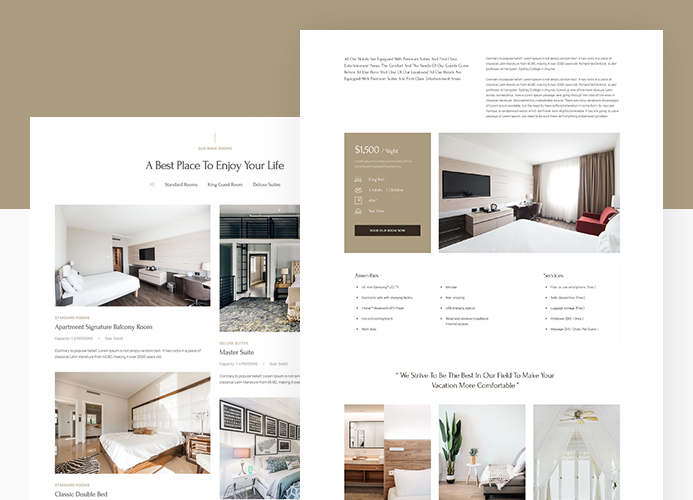 joomla hotel and resort template room pages