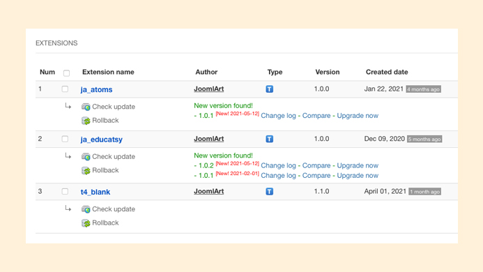 joomla template and extension update