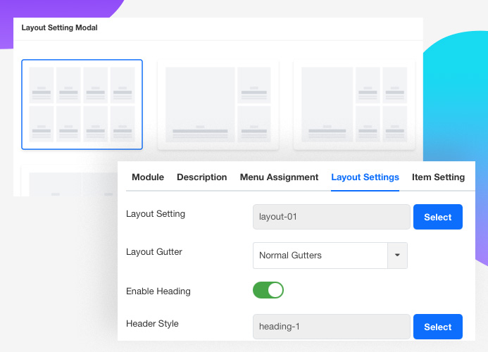 JA Content listing Joomla article display layout setting