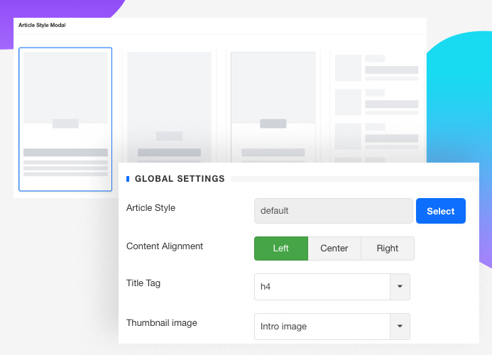 JA Content listing Joomla article display article style setting