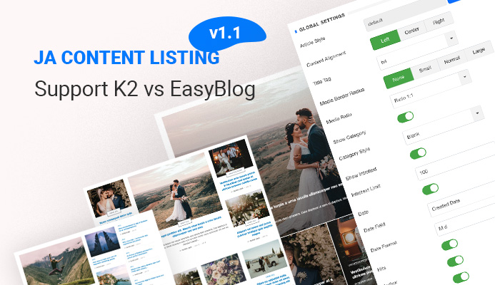 JA Content listing Joomla article display extension