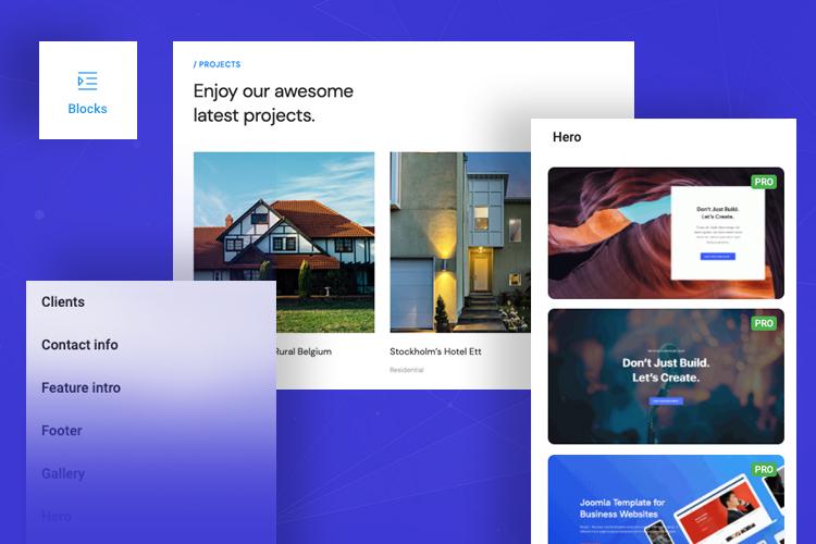 joomla page builder content block designs