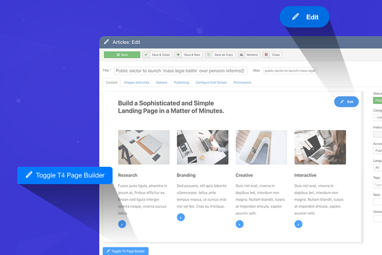 joomla page builder article integration