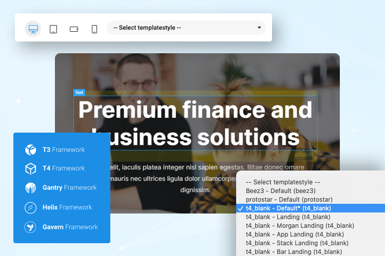 joomla page builder compatibility with popular templates