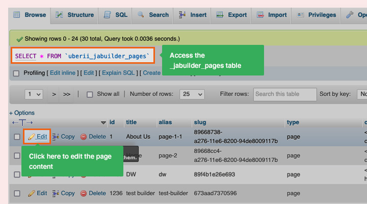 Update ja page builder content